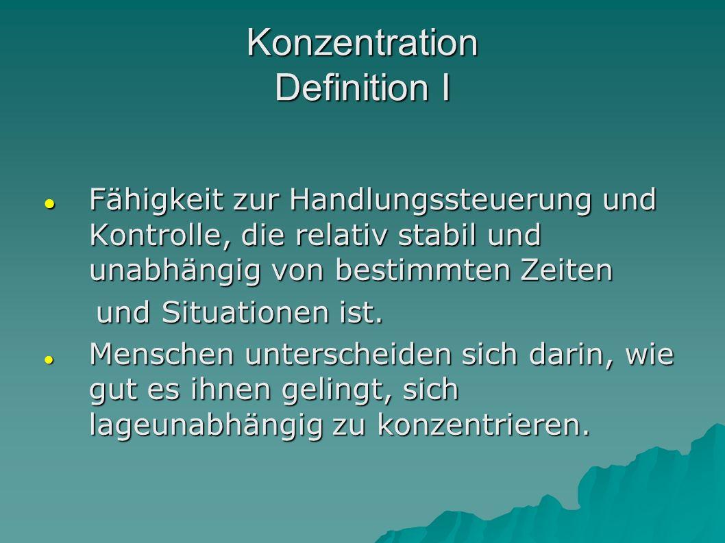 Konzentration Definition I