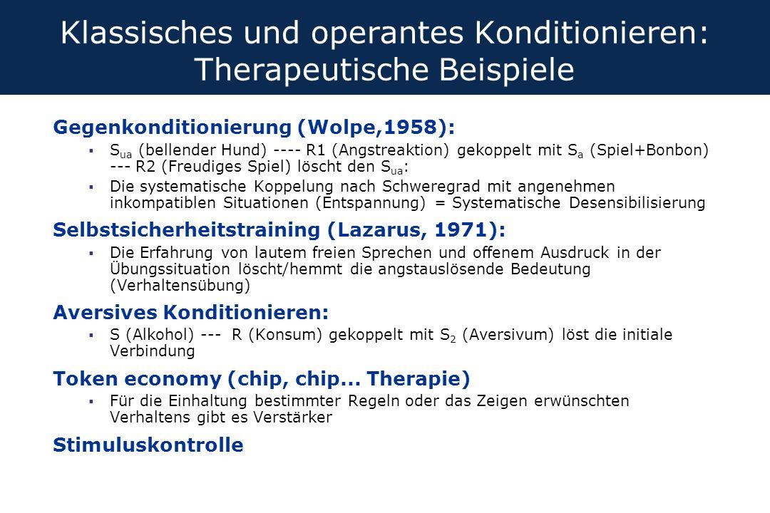 Klassisches und operantes Konditionieren: Therapeutische Beispiele