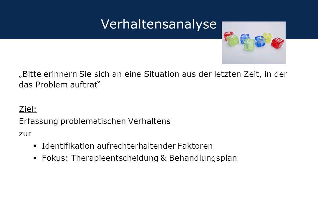 """Verhaltensanalyse """"Bitte erinnern Sie sich an eine Situation aus der letzten Zeit, in der das Problem auftrat"""