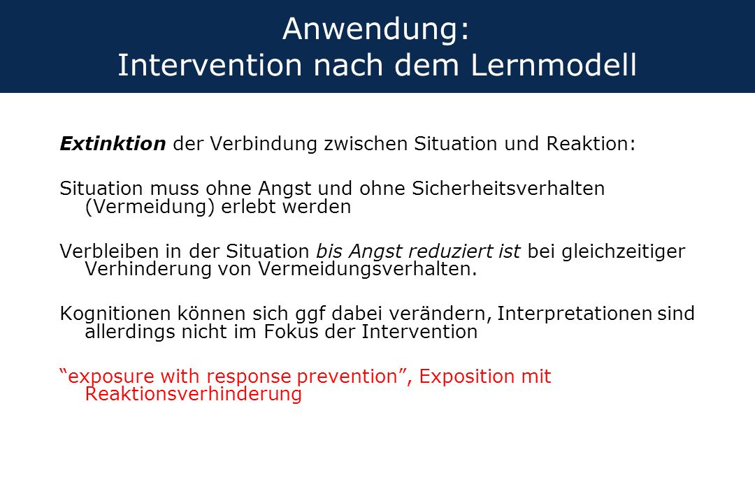 Anwendung: Intervention nach dem Lernmodell
