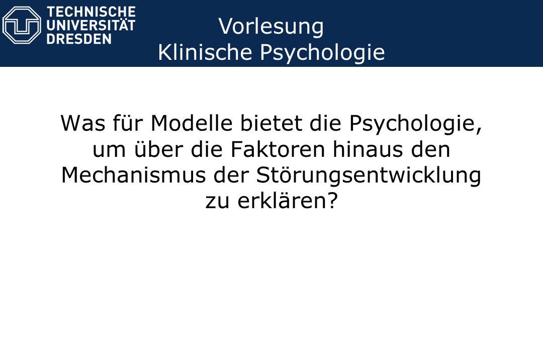Vorlesung Klinische Psychologie