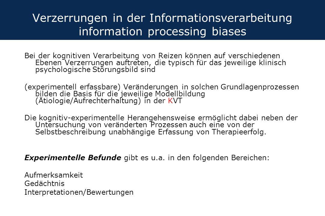 Verzerrungen in der Informationsverarbeitung information processing biases