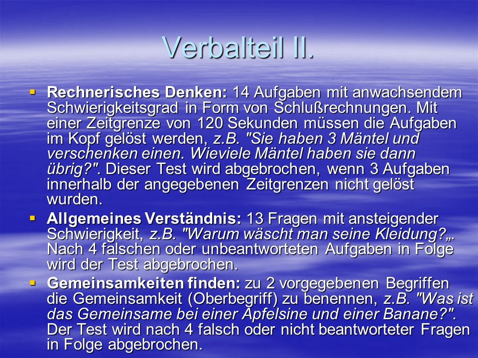 Verbalteil II.
