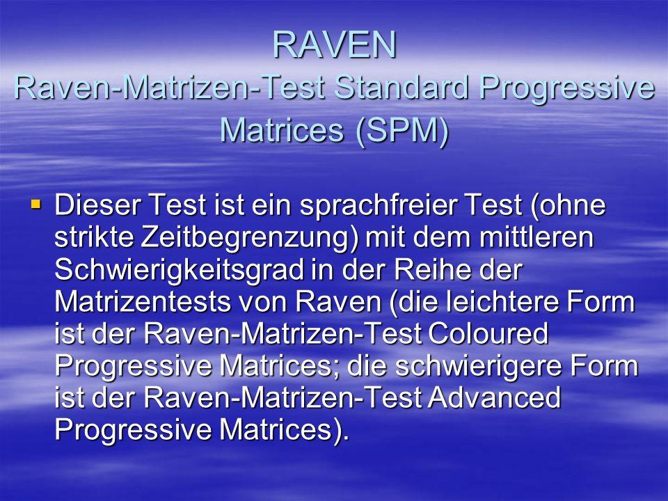 RAVEN Raven-Matrizen-Test Standard Progressive Matrices (SPM)