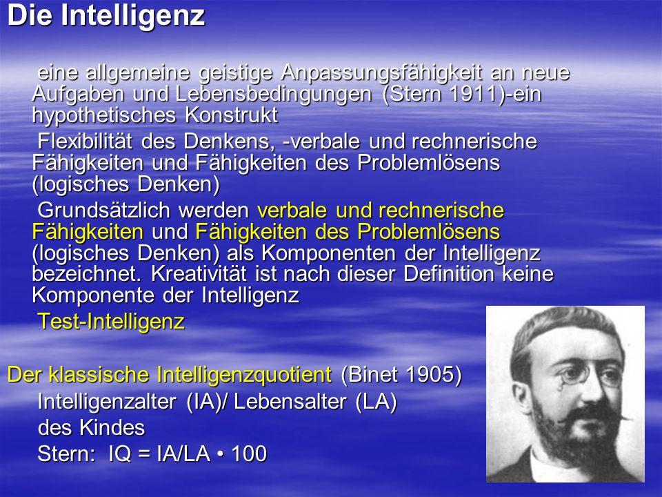 Die Intelligenz eine allgemeine geistige Anpassungsfähigkeit an neue Aufgaben und Lebensbedingungen (Stern 1911)-ein hypothetisches Konstrukt.