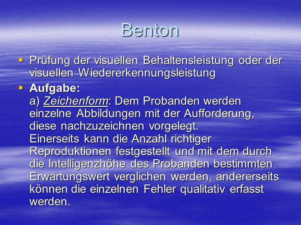 Benton Prüfung der visuellen Behaltensleistung oder der visuellen Wiedererkennungsleistung.