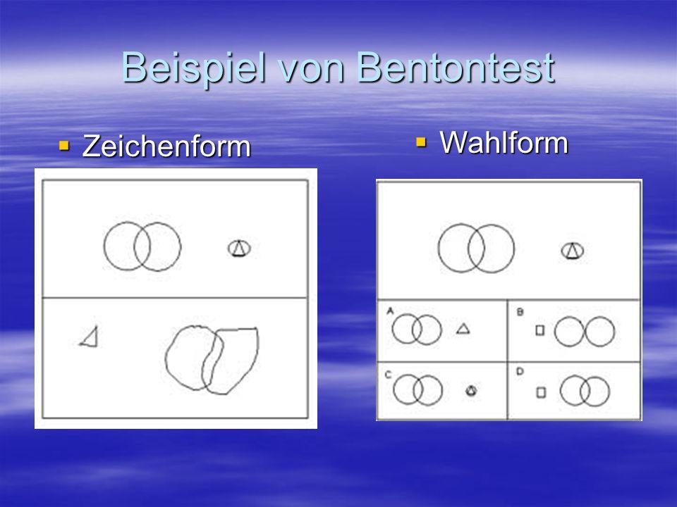 Beispiel von Bentontest