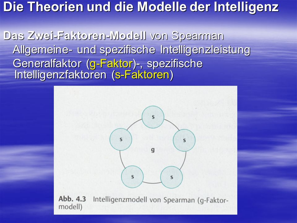 Die Theorien und die Modelle der Intelligenz