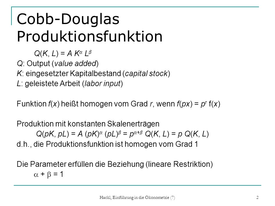 Cobb-Douglas Produktionsfunktion