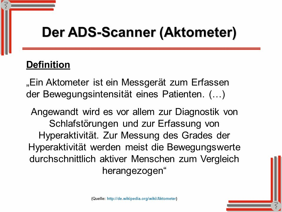 Der ADS-Scanner (Aktometer)