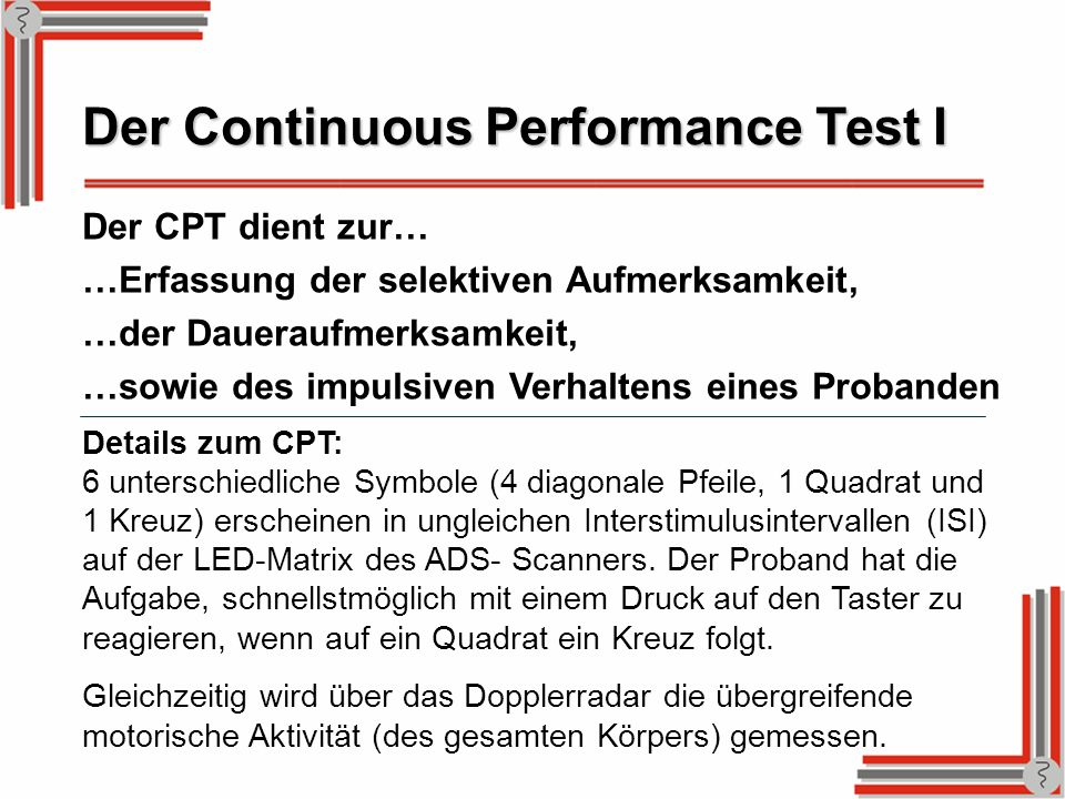 Der Continuous Performance Test I