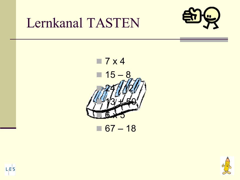 Lernkanal TASTEN 7 x 4 15 – 8 24 : 12 13 + 50 6 x 5 67 – 18
