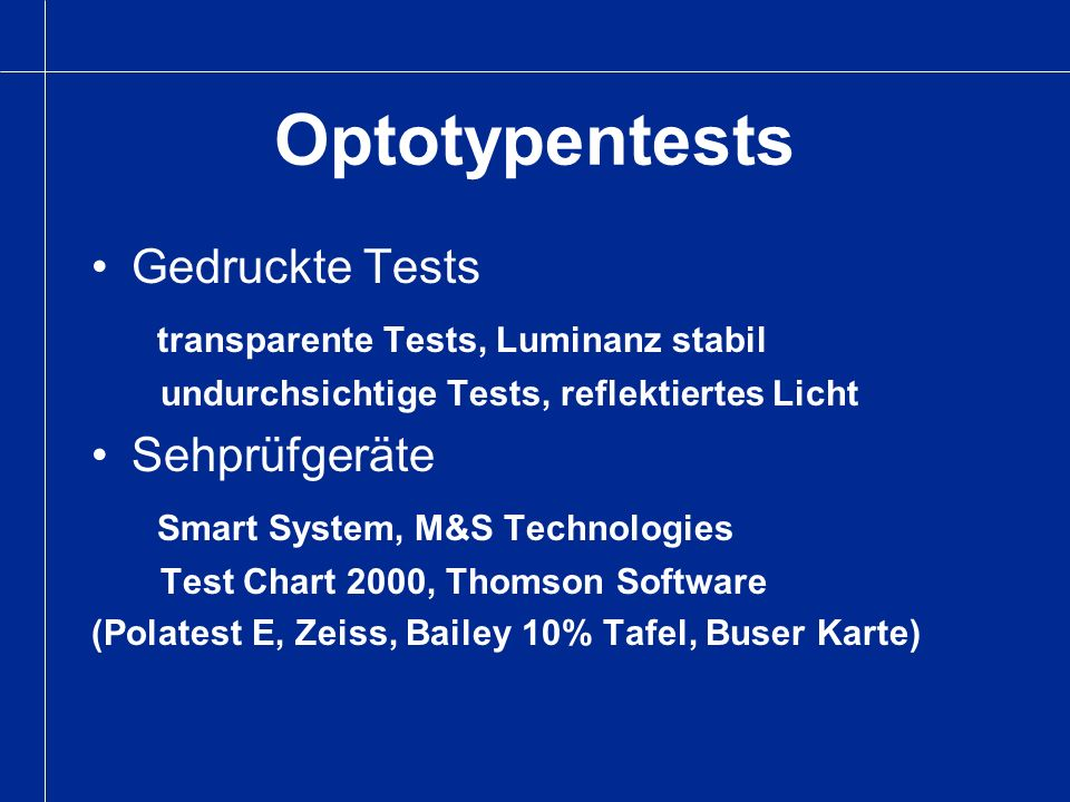 Optotypentests Gedruckte Tests transparente Tests, Luminanz stabil