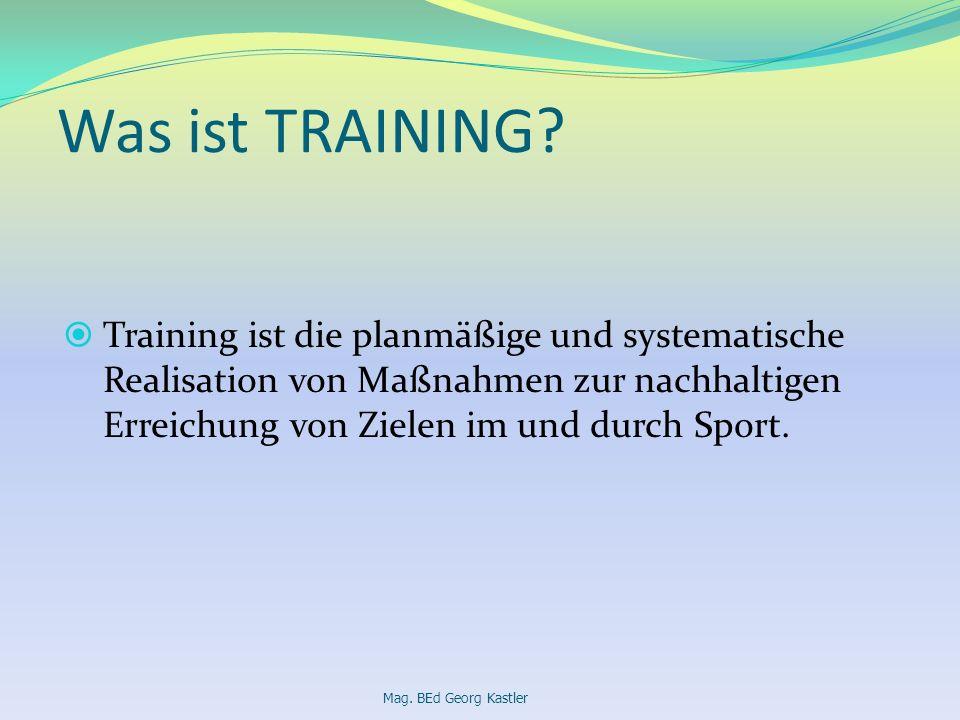 Was ist TRAINING Training ist die planmäßige und systematische Realisation von Maßnahmen zur nachhaltigen Erreichung von Zielen im und durch Sport.