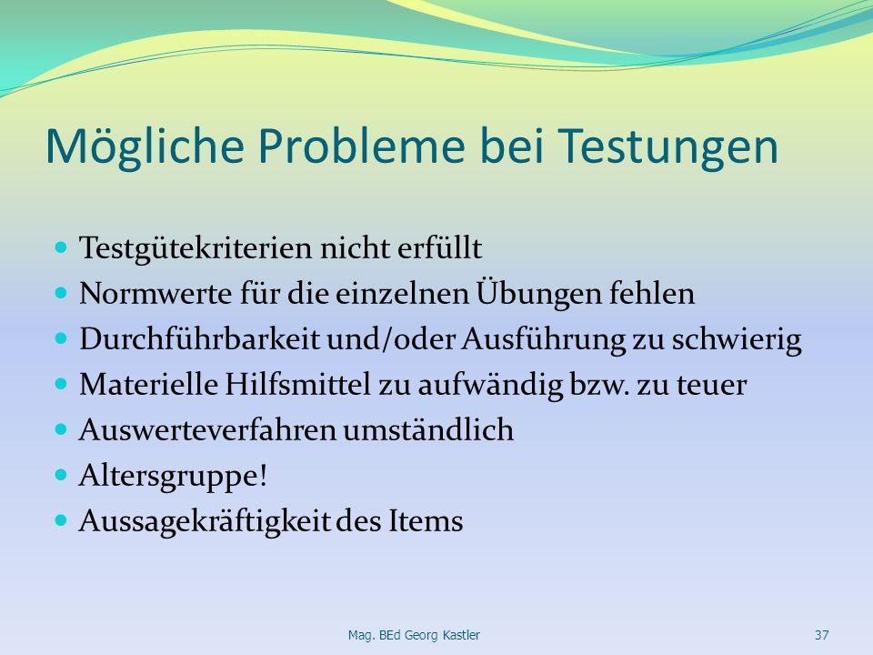 Mögliche Probleme bei Testungen