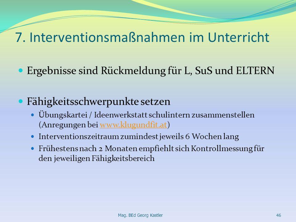 7. Interventionsmaßnahmen im Unterricht