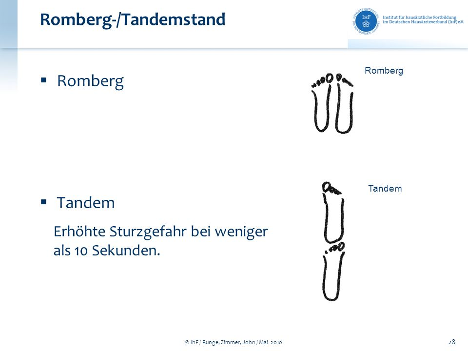 Romberg-/Tandemstand