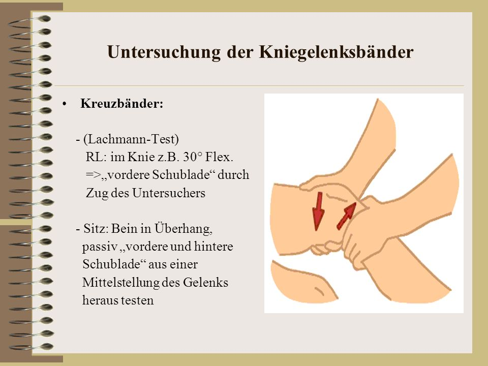 Untersuchung der Kniegelenksbänder