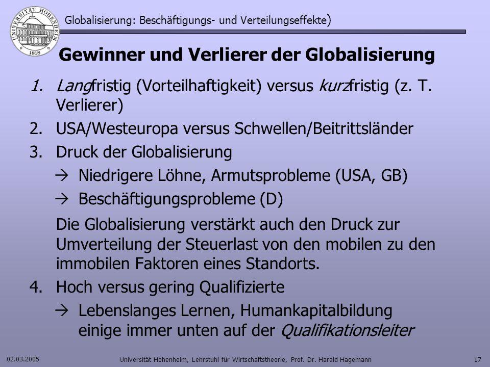 Globalisierung: Beschäftigungs- und Verteilungseffekte)