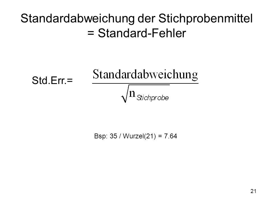 Standardabweichung der Stichprobenmittel = Standard-Fehler