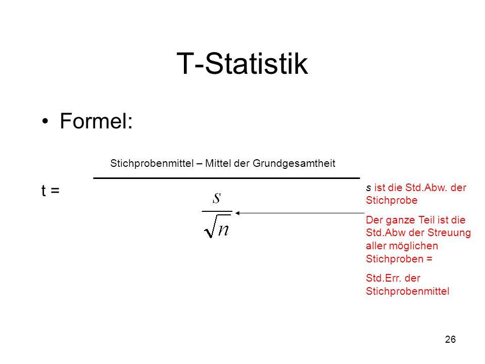 T-Statistik Formel: t = Stichprobenmittel – Mittel der Grundgesamtheit