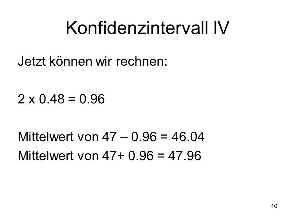 Konfidenzintervall IV
