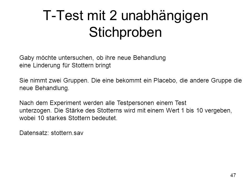 T-Test mit 2 unabhängigen Stichproben