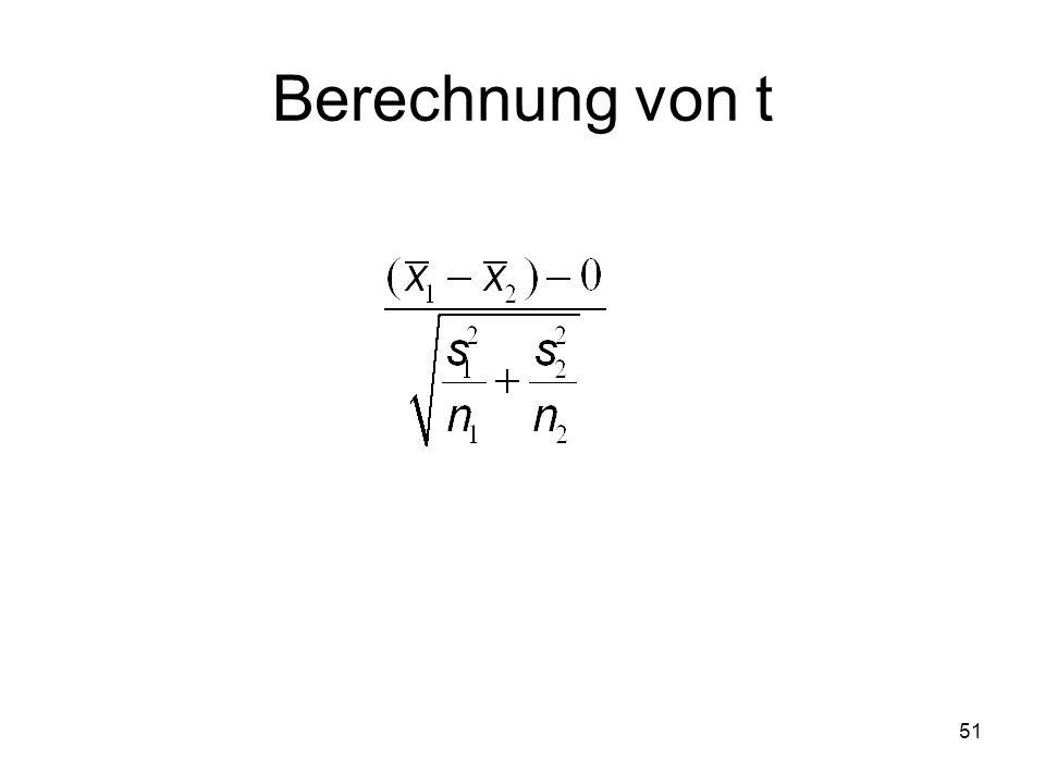 Berechnung von t