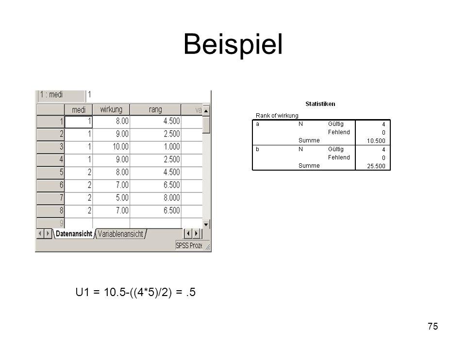 Beispiel U1 = 10.5-((4*5)/2) = .5