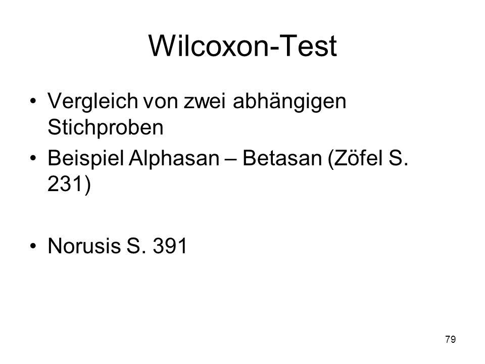 Wilcoxon-Test Vergleich von zwei abhängigen Stichproben