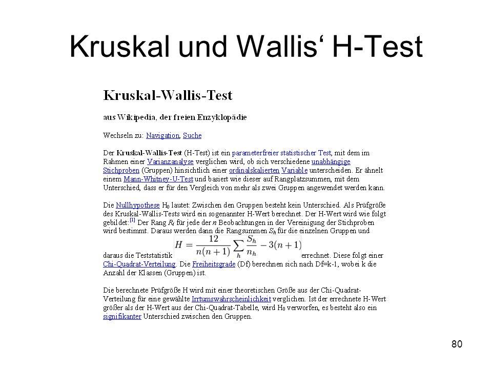 Kruskal und Wallis' H-Test