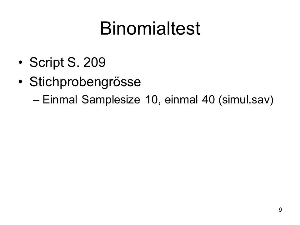 Binomialtest Script S. 209 Stichprobengrösse