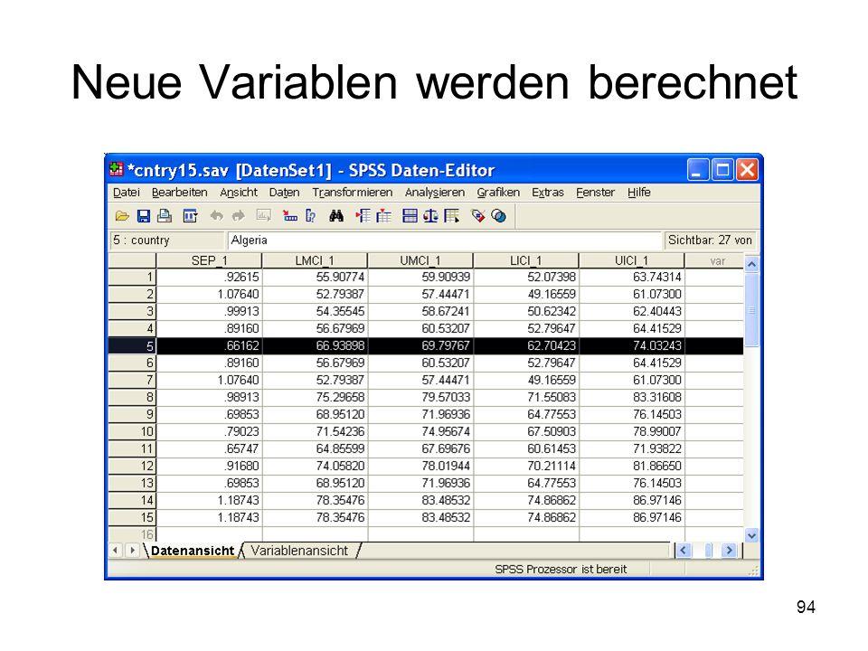 Neue Variablen werden berechnet