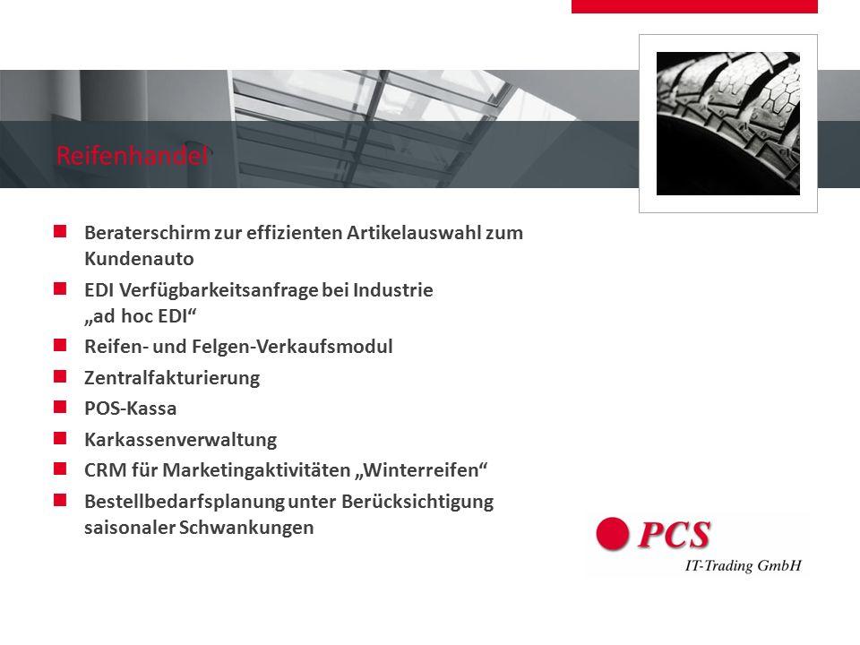 """Reifenhandel Beraterschirm zur effizienten Artikelauswahl zum Kundenauto. EDI Verfügbarkeitsanfrage bei Industrie """"ad hoc EDI"""