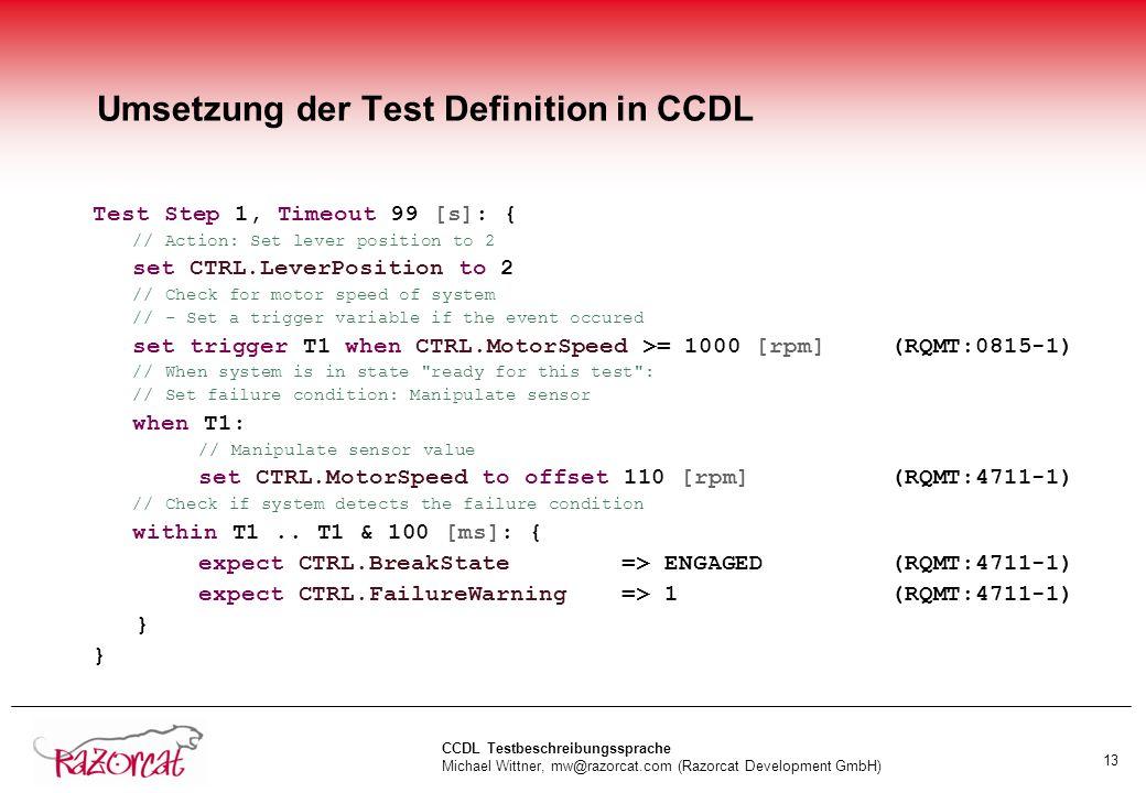 Umsetzung der Test Definition in CCDL