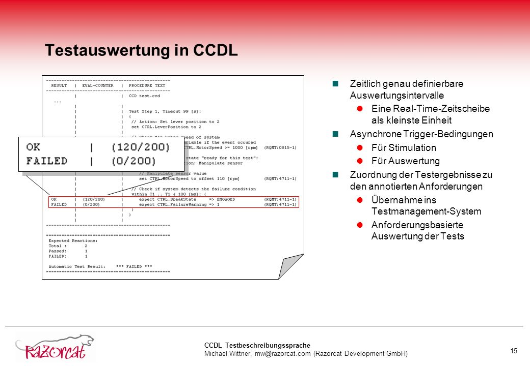 Testauswertung in CCDL