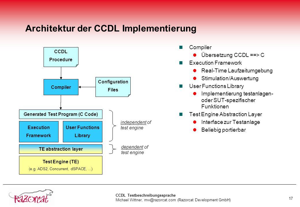 Architektur der CCDL Implementierung