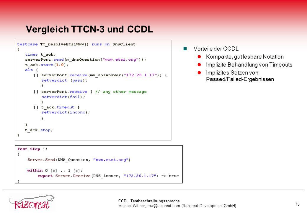 Vergleich TTCN-3 und CCDL