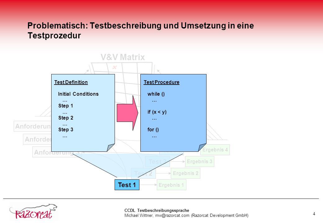 Problematisch: Testbeschreibung und Umsetzung in eine Testprozedur