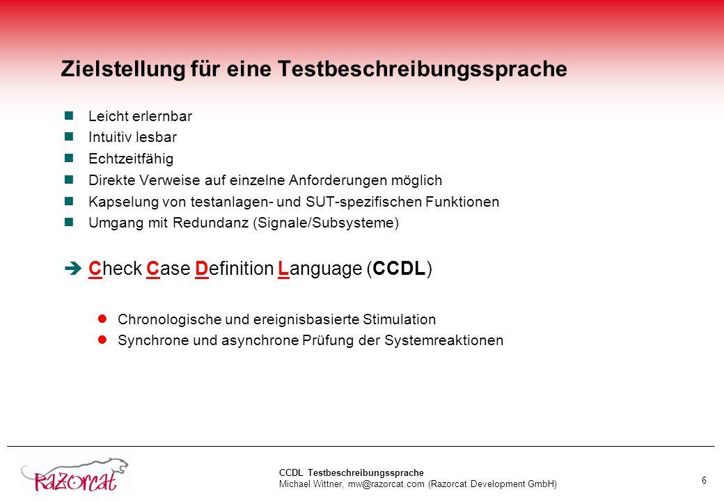 Zielstellung für eine Testbeschreibungssprache