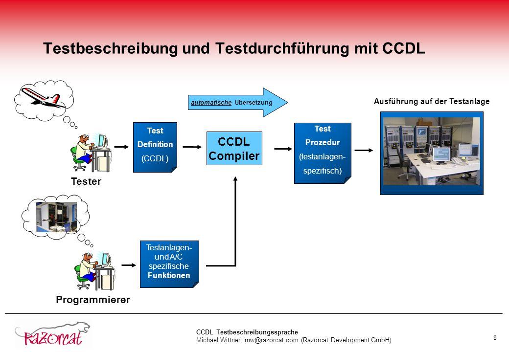 Testbeschreibung und Testdurchführung mit CCDL