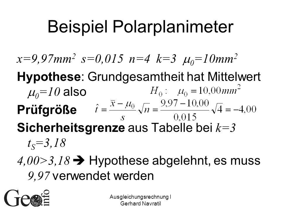 Beispiel Polarplanimeter
