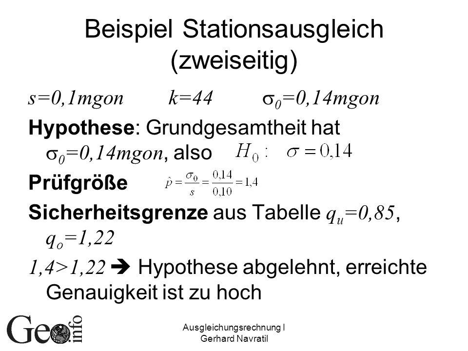 Beispiel Stationsausgleich (zweiseitig)