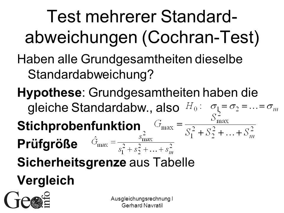 Test mehrerer Standard-abweichungen (Cochran-Test)