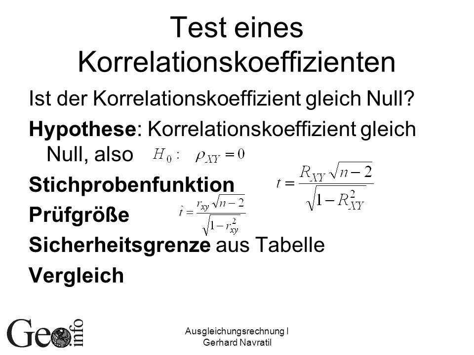 Test eines Korrelationskoeffizienten