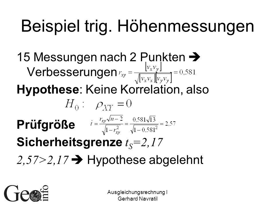 Beispiel trig. Höhenmessungen