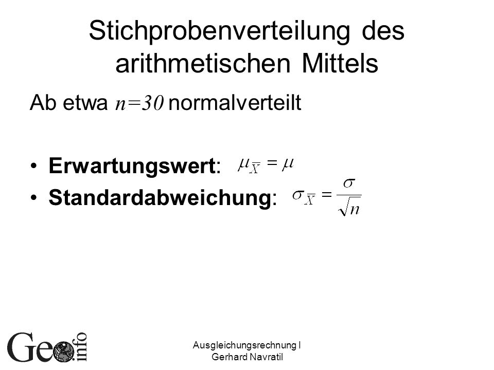 Stichprobenverteilung des arithmetischen Mittels