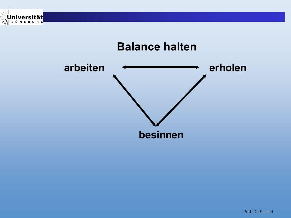 Balance halten arbeiten erholen besinnen