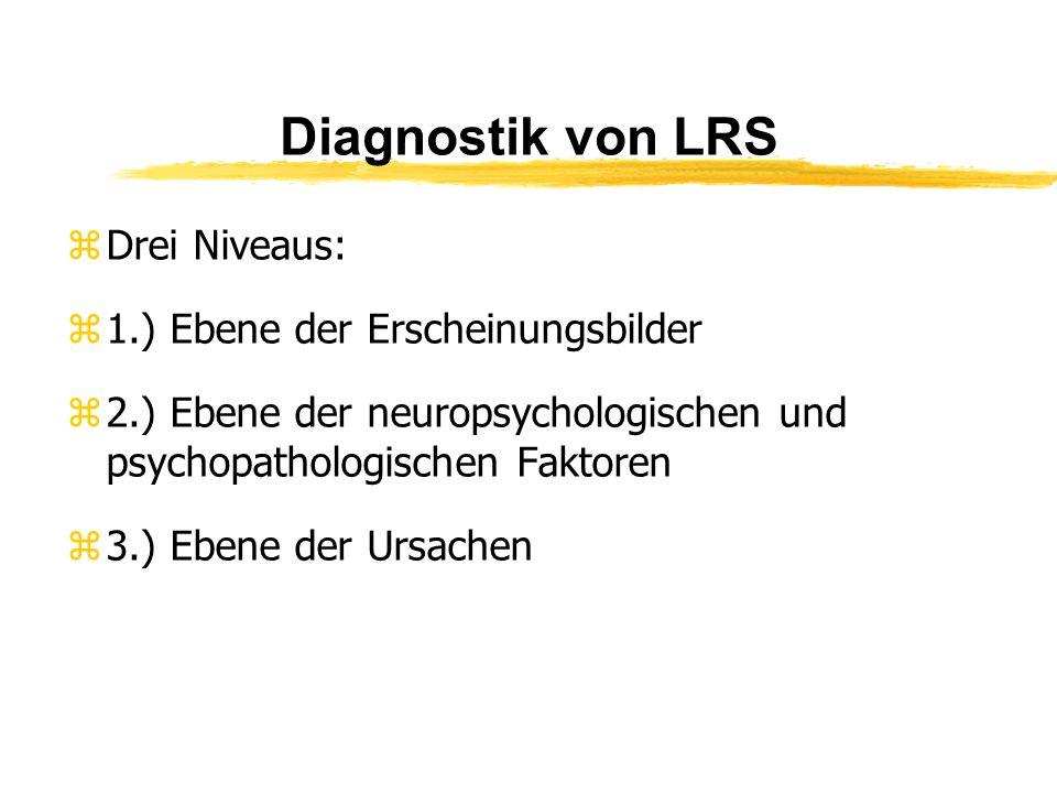 Diagnostik von LRS Drei Niveaus: 1.) Ebene der Erscheinungsbilder