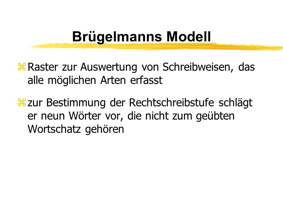 Brügelmanns Modell Raster zur Auswertung von Schreibweisen, das alle möglichen Arten erfasst.